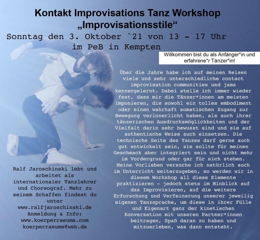 Contact Improvisationstanz mit Ralf Jaroschinski am 3. Oktober
